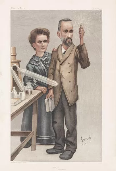 Caricature of the Curies published in Vanity Fair 22 December 1904